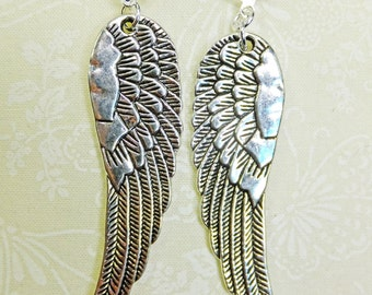 Long Silvery Bird Wings Dangle Earrings ExLarge Size Three Inches Long with Leverback Earwires
