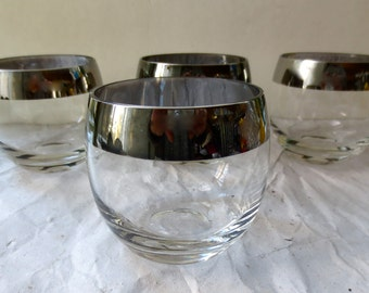 Roly Poly Glasses Set of Four Mercury Rimmed Low Ball Glassware Mid Century Barware