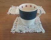 Handwoven Mug Rugs, Coasters made from Recycled Cotton Fabric
