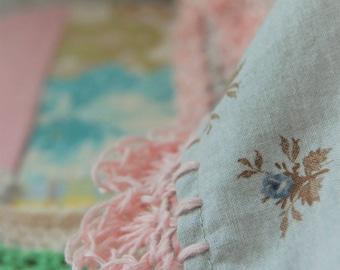 pillowcase with crochet trim  -  Tweedy Rose (with linen trim)