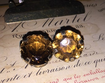 Vintage Brown Gem Clip Earrings