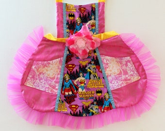 Superhero Apron, toddler apron, wonder woman apron, batgirl  apron, accesories, apron, dress up, costume