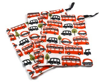 London Party Favors, Bus Bag, Fabric Gift Bag, London Underground