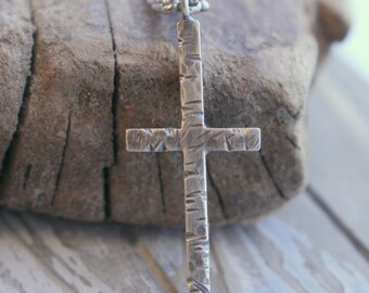 Mens Sterling Silver Cross Necklace - Rugged cross charm, christian jewelry