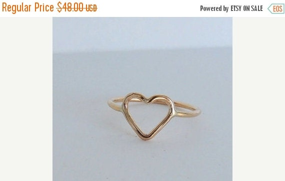 ON SALE Golden Heart Ring, 14kt Gold filled open heart ring