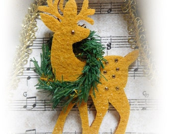 Reindeer in the Snow Bell Shape Tart Pan Ornament, Hand Created and Embellished, Tree Ornament, Gift, Collectible, ECS