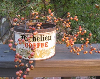 Vintage Rusty Coffee Can/ Coffee Tin - Rustic Kitchen Decor - Shabby Country Kitchen