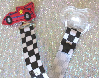 Nascar Racecar checkered flag red Pacifier Clip Paci Soother Mam Nook Binky Holder CHOOSE Loop Snap car new baby boy shower gift accessory