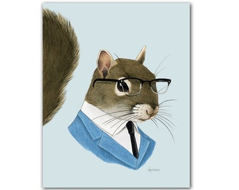Squirrel Gentleman art print - Animal art - Nursery art - Animals in Clothes - Children's art - Ryan Berkley Illustration 5x7