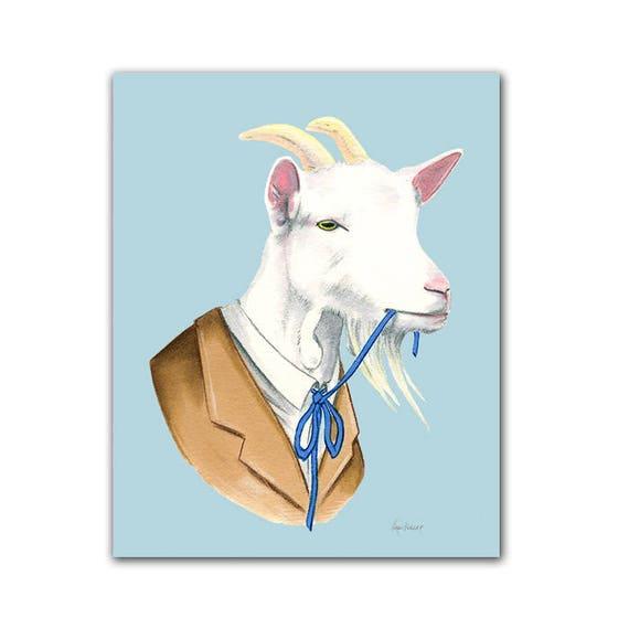 Goat animal print - modern kids art - unique baby gift - animals in clothes - animal artwork  - year of the goat - by Ryan Berkley 5x7