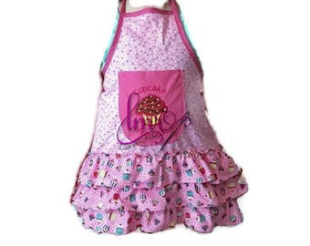 Child Pink Cupcake  Apron Size 6
