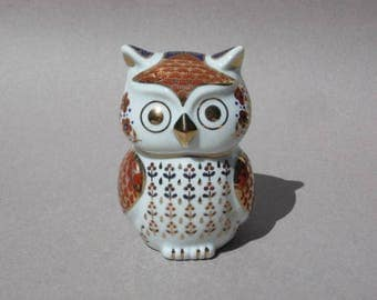 Stylized Ceramic Owl Red & Blue Design with Gold Accents Made in Japan Vintage Owl Figurine