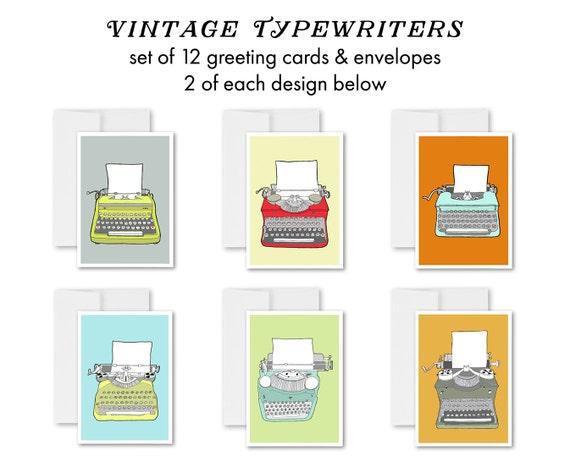 "greeting cards, greeting card set, blank inside, retro typewriters, vintage typewriters, mid century modern, colorful -""Vintage Typewriters"""