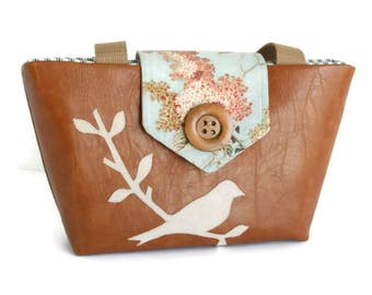 Bird on a Branch Wayfarer Purse - Vegan Faux Leather Handbag - Handmade Applique -