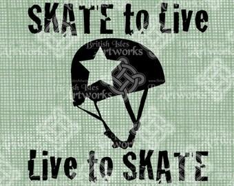 Digital Download, Skate to Live, Live to Skate, Jammer Star, Roller Derby Girl, DigiStamp, Iron On Transfer, transparent png