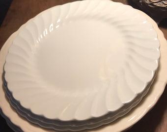 3 White Ironstone Salad Plates Johnson Bros 8 inch