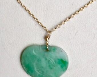 SALE-Antique Apple Green Jade Necklace
