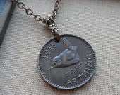 A Wee Little Birdie, 1938 Farthing Vintage Coin Necklace