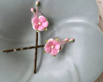 PInk blossom flower hair pink,pink flower clip,wedding flower hair, pink wedding. flower hair pin set.Tiedupmemories