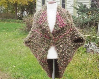 Wrap sweater jacket shawl coat button front chunky knit briar rose tweed turtle wrap style shrug medium large women spring fall outerwear