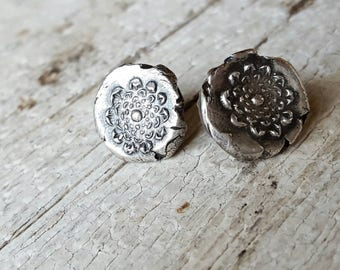 Wedding jewelry Flower earrings studs limited edition small primitive designer dainty rustic unique artisan tiny recycled silver MARIGOLD