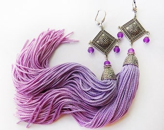Tassel Earrings, Lilac earrings, Lavender Tassels, Ombre Earrings, Tribal Earrings, Boho jewelry, Boho earrings, Gypsy style, Gypsy earrings