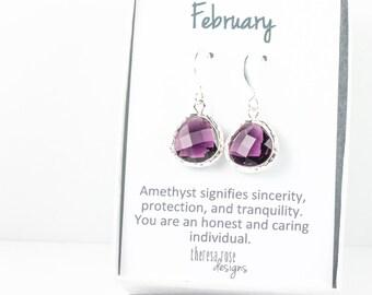 February Birthstone Silver Earrings, February Birthday Earrings, Amethyst Silver Earrings, Purple Silver Earrings, February Birthday Gift