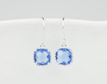 Sapphire Silver Square Earrings, September Birthstone Silver Earrings, Blue Silver Earrings, Bridesmaid Earrings, September Birthday Gift