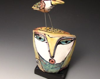 """Owl art, handmade one of a kind ceramic owl art,""""Owl Person and Dancing Bird.  Love is All, 6-1/2"""" tall"""