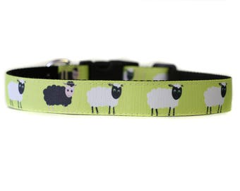 1 Inch Wide Dog Collar with Adjustable Buckle or Martingale in Black Sheep an Exclusive Design