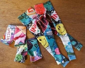 "Girly GRAFFITI LEGGINGS or SHORTS for Agatha Primrose 13"" Tonner fashion body"