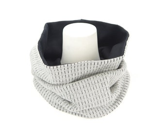 Heather Gray Dash Stripe Black Cowl Scarf Tube