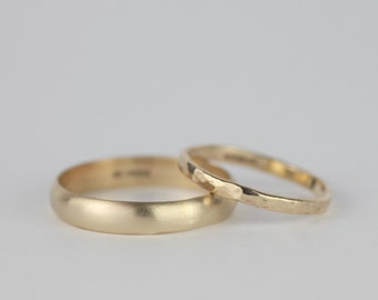 Mens Wedding Band. 9ct Gold Ring. Mens Ring. Wedding Ring. Brushed Gold Ring. Bridal Jewellery. UK Sellers Only. Gold Thumb Ring.