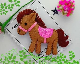 Brown Horse hair clip, Handmade Felt Brown horse hair barrette, Brown horse hair slide,Brown horse hair tie, horse bobble