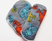 Set of 2 Cloth Mama Pad Pantyliner 8 inch - Fun Dinos Flannel