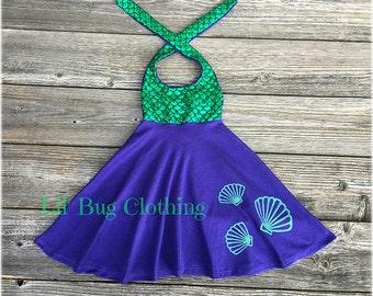 Mermaid Seashell Girl Dress, Mermaid Birthday Girl Seashell Dress, Mermaid Ariel Princess Dress, Mermaid Birthday Party Dress