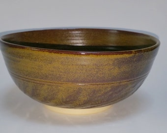 Wheel Thrown Pottery Bowl with Chattered Texture Exterior in Dark Amber or Burgundy with Golden Tea Dust Specks