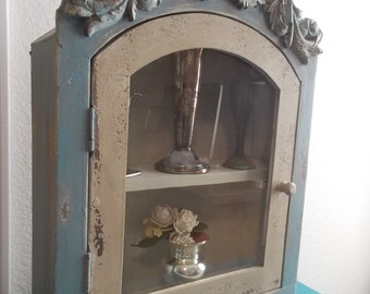 Shabby French Cottage Farmhouse Display Cabinet Custom chalk paint