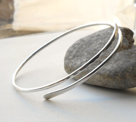 Sterling Silver Bangle Bracelet, Hammered Silver Bracelet, Artisan Jewelry