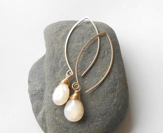 Moonstone Earrings, Long Gold Earrings, Gold Filled Dangle Briolette Earrings
