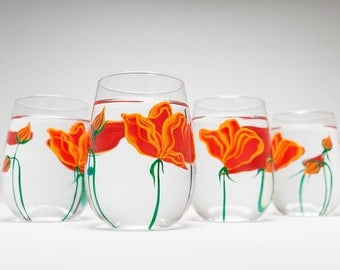 Orange Poppies Wine Glasses - Stemless Wine Glasses for Mom - Mothers Day Gift - Set of 6 Poppy Glasses, Poppy Glassware, Poppy Wine Glasses