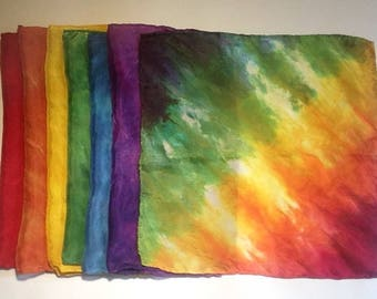 "Wee Little 11x11"" Playsilks - Rainbow of colors - set of 7"
