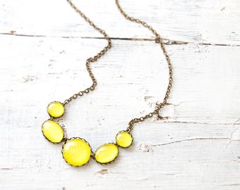 Intense Yellow Necklace, Statement Necklace , Minimalist Necklace, Colorful Necklace, Glass Dome Necklace, Bib necklace