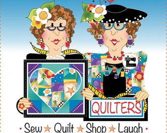 "AP6.44 - Quilters - Sew, Quilt, Shop, Laugh - 6"" Fabric Art Panel"