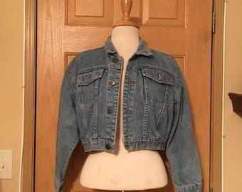 Vintage Denim Jacket, Cropped Jean Jacket, Chazzz Jacket