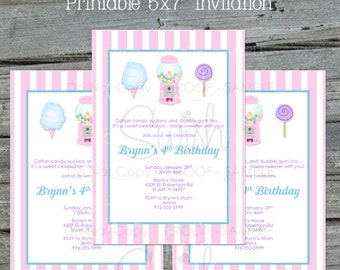 Candy Birthday Invitation | Pink Cotton Candy |Sweet Shop Party Invite |  bubble gum | candy machine | lollipop | sucker | Printable digital