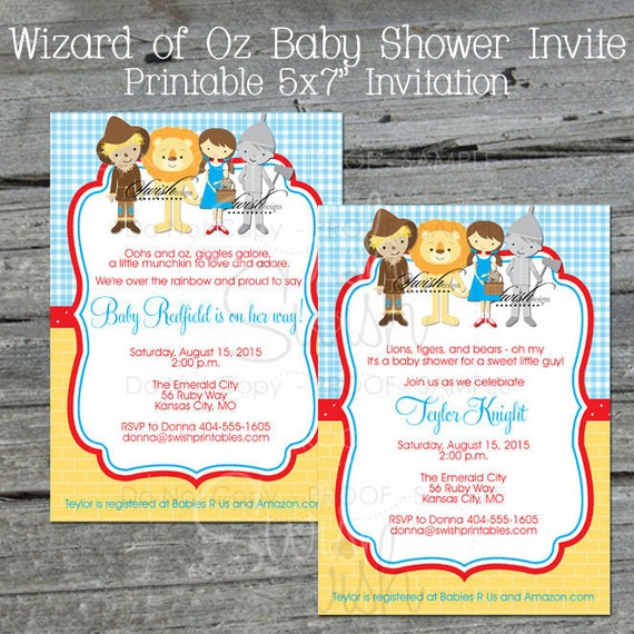 Printable Birthday Party Invitation Card Detroit Lions: Wizard Of Oz BABY SHOWER Invitation