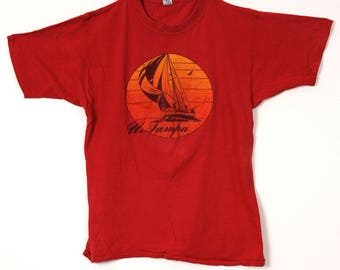Vintage University of Tampa Tee with Sailboat Print
