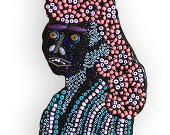 Folk Art Bead Woman Pattern Fine Art Wall Sculpture Assemblage
