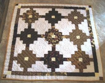 Quilt,  Hand Quilted, Lap Quilt, Handmade Quilt, Granny's Flower Garden Quilt, Fiber Art, Quilting, Handmade Lap Quilt,